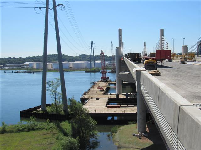 Looking east along the north side of the southbound Q-Bridge with removal of temporary trestles underway