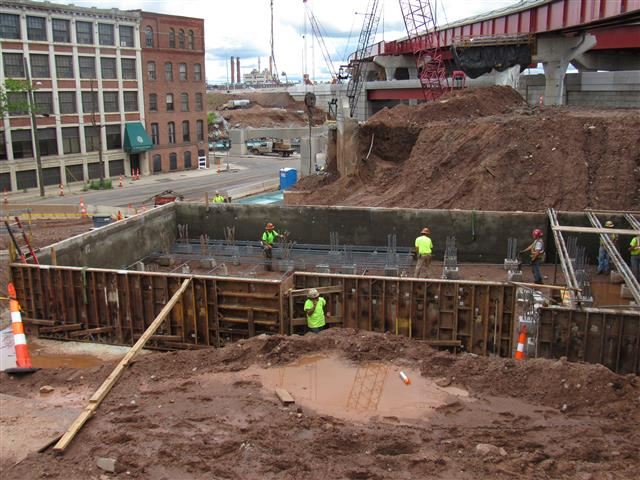 Construction of the abutment foundation that will support I-91 Southbound to Route 34 Westbound