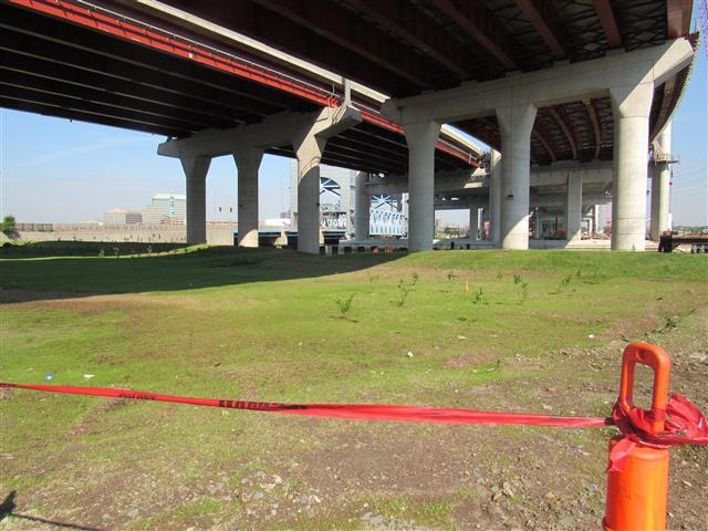 Completed restoration area under the Q-Bridge east approach