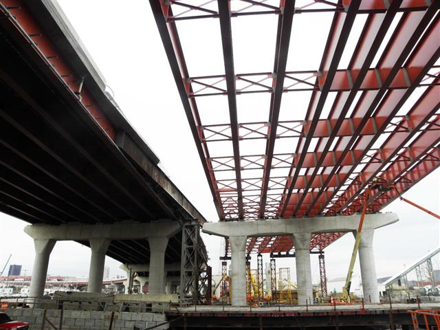 Structural steel for the I-95 Southbound Pearl Harbor Memorial (Q) Bridge West Approach Structure