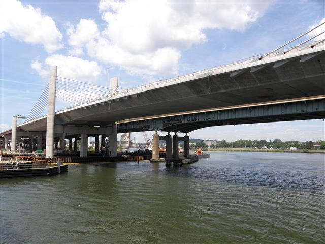 Completed construction of the Northbound side of the new Pearl Harbor Memorial Bridge.