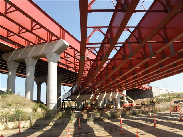 Structural steel of the I-95 NB to I-91 NB bridge over Route 1 / Water Street